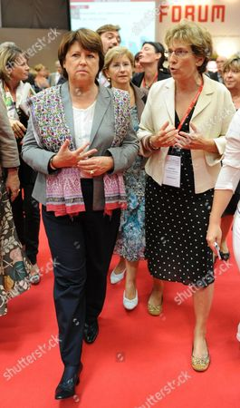 The First Secretary of the French Socialist Party Martine Aubry (l) is Accompanied by Former Minister of Accomodation Marie Noelle Lienemann (r) As She Arrives to Bordeaux France 29 September 2011 to Attend an Annual Congress Martine Aubry is Candidate For the 2011 Socialist Party Primary Elections For France's 2012 Presidential Election France Bordeaux