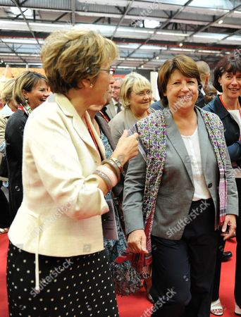 The First Secretary of the French Socialist Party Martine Aubry (r) is Accompanied by Former Minister of Accomodation Marie Noelle Lienemann (l) As She Arrives to Bordeaux France 29 September 2011 to Attend an Annual Congress Martine Aubry is Candidate For the 2011 Socialist Party Primary Elections For France's 2012 Presidential Election France Bordeaux