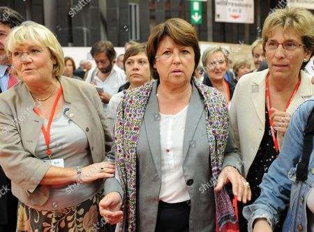 The First Secretary of the French Socialist Party Martine Aubry (r) is Accompanied by Former Minister of Accomodation Marie Noelle Lienemann (r) and Martine Jardine (l) As She Arrives to Bordeaux France 29 September 2011 to Attend an Annual Congress Martine Aubry is Candidate For the 2011 Socialist Party Primary Elections For France's 2012 Presidential Election France Bordeaux