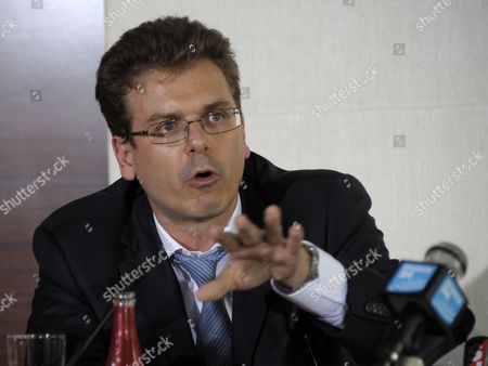 Associate French Lawyer Thibault De Montbrial Makes a Point During a Press Conference Held by Douglas Wigdor (unseen) One of Nafissatou Diallo's Us Attorneys in Paris France 23 August 2011 According to Wigdor Diallo a 32-year-old Guinean who Alleged Mr Strauss-kahn the 62-year-old Former Imf Chief Tried to Rape Her when She Arrived to Clean His Manhattan Hotel Suite on 14 May 2011 is Filing a Civil Action For Damages Against Strauss-kahn France Paris