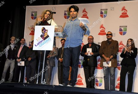 Cuban Singer Lena Burke (l) and Colombian Singer Jorge Villamizar (r) Make a Nominations Announcement During the 12th Annual Latin Grammy Nomination Announcement Press Conference at the Avalon Theatre in Hollywood California Usa 14 September 2011 the Latin Recording Academy Will Honor Excellence in 46 Latin Music Categories on 10 November United States Hollywood