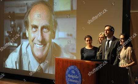 Stock Picture of (l-r) Lesley Steinman Claudia Steinman Adam Steinman and Alexis Steinman the Family of Nobel Prize Winner in Physiology Or Medicine Ralph M Steinman of Canada Nobel Prize Winner in Physiology Or Medicine Speak at a Press Conference at the Rockefeller University in New York New York on 03 October 2011 Steinman who Died on 30 September 2011 From Pancreatic Cancer the Nobel Prize was Divided One Half Jointly to Bruce a Beutler of the Us and Jules a Hoffmann of France 'For Their Discoveries Concerning the Activation of Innate Immunity' and the Other Half to Ralph M Steinman 'For His Discovery of the Dendritic Cell and Its Role in Adaptive Immunity United States New York