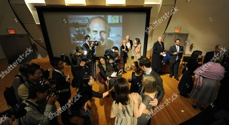 The Family of Nobel Prize Winner in Physiology Or Medicine Ralph M Steinman of Canada Nobel Prize Winner in Physiology Or Medicine Speak with Media After a Press Conference at the Rockefeller University in New York New York Usa on 03 October 2011 Steinman who Died on 30 September 2011 From of Pancreatic Cancer the Nobel Prize was Divided One Half Jointly to Bruce a Beutler of the Us and Jules a Hoffmann of France 'For Their Discoveries Concerning the Activation of Innate Immunity' and the Other Half to Ralph M Steinman 'For His Discovery of the Dendritic Cell and Its Role in Adaptive Immunity United States New York