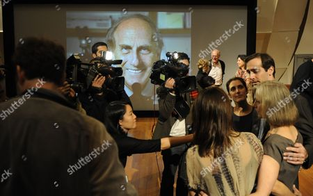 Stock Photo of The Family of Nobel Prize Winner in Physiology Or Medicine Ralph M Steinman of Canada Nobel Prize Winner in Physiology Or Medicine Speak with Media After a Press Conference at the Rockefeller University in New York New York Usa on 03 October 2011 Steinman who Died on 30 September 2011 From of Pancreatic Cancer the Nobel Prize was Divided One Half Jointly to Bruce a Beutler of the Us and Jules a Hoffmann of France 'For Their Discoveries Concerning the Activation of Innate Immunity' and the Other Half to Ralph M Steinman 'For His Discovery of the Dendritic Cell and Its Role in Adaptive Immunity United States New York