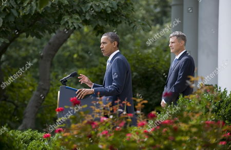 Stock Image of Us President Barack Obama (l) Delivers Remarks on His Nomination of Alan Krueger to Head the Council of Economic Advisers During an Event in the Rose Garden at the White House in Washington Dc Usa 29 August 2011 Krueger if Confirmed by the Senate Will Replace Austan Goolsbee who Left the Administration Earlier This Month United States Washington