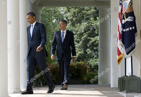 Stock Photo of Us President Barack Obama (l) with His Nominee to Head the Council of Economic Advisers Alan Krueger Walks From the Oval Office Prior to an Event in the Rose Garden at the White House in Washington Dc Usa 29 August 2011 Krueger if Confirmed by the Senate Will Replace Austan Goolsbee who Left the Administration Earlier This Month United States Washington