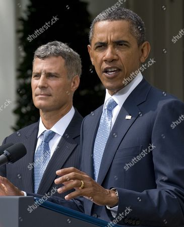 Stock Picture of Us President Barack Obama (r) Delivers Remarks on His Nomination of Alan Krueger to Head the Council of Economic Advisers During an Event in the Rose Garden at the White House in Washington Dc Usa 29 August 2011 Krueger if Confirmed by the Senate Will Replace Austan Goolsbee who Left the Administration Earlier This Month United States Washington