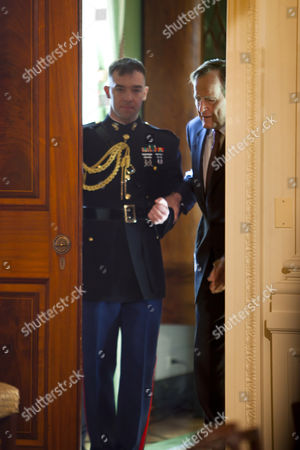 George Herbert Walker Bush (r) the 41st President of the United States Enters the East Room to Receive the 2010 Medal of Freedom the Nation's Highest Civilian Honor From U S President Barack Obama in the White House in Washington Dc Usa on 15 February 2011 United States Washington