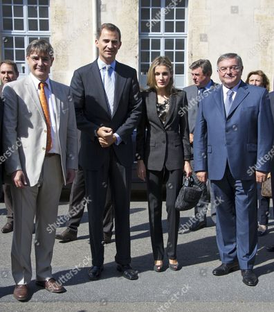 Felipe Prince of Asturias Heir of Spain's Throne Arrives Accompanied by His Wife Princess Letizia in the Ecole Militaire Paris France 15 September 2011 to Participate in the Inaugural Ceremony of the 7th International Congress of Terrorism Victims They Are Being Greeted by Guillaume Denoix De Saint Marc (l) and French Minister of Justice Michel Mercier (r) the Viith International Congress of Victims of Terrorism Paris Will Receive Many Victims Civil Society Actors Political Leaders Representatives of Various Institutions International Experts and Journalists From 15 to 17 September 2011 For the First Time the Congress is Taking Place in a Non-spanish Speaking Country France Paris