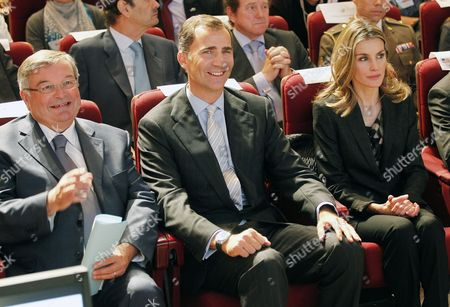 (l-r) French Minister of Justice Michel Mercier Felipe Prince of Asturias Heir of Spain's Throne and His Wife Princess Letizia in the Ecole Militaire Paris France 15 September 2011 to Participate in the Inaugural Ceremony of the 7th International Congress of Terrorism Victims the Viith International Congress of Victims of Terrorism Paris Will Receive Many Victims Civil Society Actors Political Leaders Representatives of Various Institutions International Experts and Journalists From 15 to 17 September 2011 For the First Time the Congress is Taking Place in a Non-spanish Speaking Country France Paris