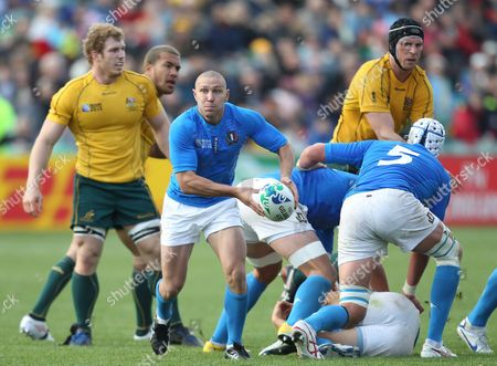 Italy's Fabio Semenzato (c) Clears the Ball From the Base of the Scrum While Australia's David Pocock (l) Looks on During the Rugby World Cup 2011 Match Played at North Harbour Stadium Auckland New Zealand 11 September 2011 New Zealand Auckland