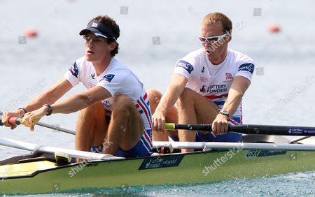Stock Picture of Great Britain Team with Peter Chambers and Kieren Emery Competes in the Men's Double Sculls Lm 2 Final at the Rowing World Championships on Lake Bled in Slovenia on 01 September 2011 Great Britain Won Italy Placed Second and Germany Third Slovenia Bled