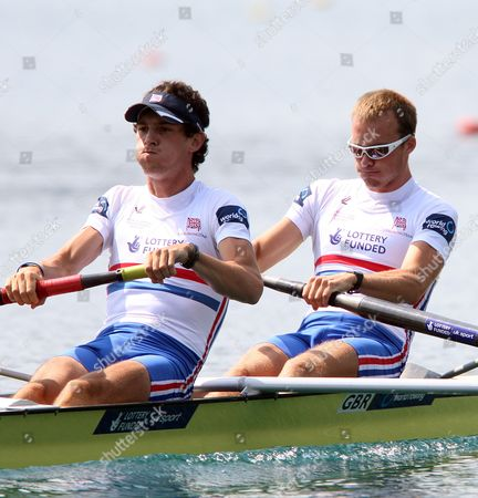 Great Britain Team with Peter Chambers and Kieren Emery Competes in the Men's Double Sculls Lm 2 Final at the Rowing World Championships on Lake Bled in Slovenia on 01 September 2011 Great Britain Won Italy Placed Second and Germany Third Slovenia Bled