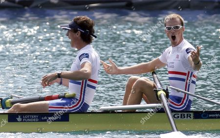 Peter Chambers (l) and Kieren Emery (r) of Great Britain Celebrate Winning the Mens Lightweight Pair Race at the Rowing World Championships on Lake Bled in Slovenia on 01 September 2011 Slovenia Bled