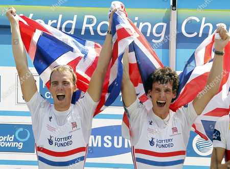 Peter Chambers and Kieren Emery of Great Britain Celebrate on the Podium After Winning the Mens Lightweight Pair Race at the Rowing World Championships on Lake Bled in Slovenia on 01 September 2011 Slovenia Bled