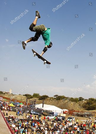 Andy Macdonald From the Usa Competes on the Mega-ramp During the Maloof Money Cup Skateboarding World Championships in Kimberley South Africa 01 October 2011 the World's Best Professional Skateboarders Both Street and Vert Are Competing in the First Ever Skateboarding World Championship Title on the Purpose Built Course with a Cash Purse of 500 000 Us Dollars South Africa Kimberley