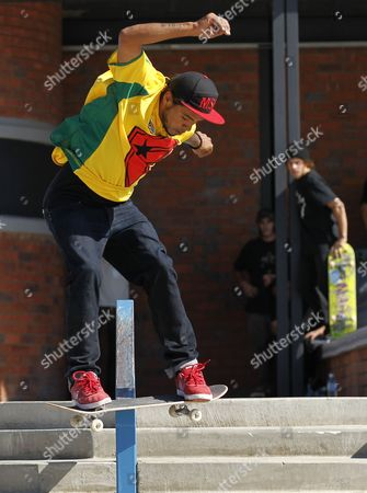 Manny Santiago From the Usa Competes on the Street Course During the Maloof Money Cup Skateboarding World Championships in Kimberley South Africa 02 October 2011 the World's Best Professional Skateboarders Both Street and Vert Are Competing in the First Ever Skateboarding World Championship Title with a Cash Purse of 500 000 Us Dollars South Africa Kimberley