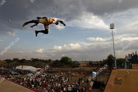 Overall Vert Second Place Finisher Bob Burnquist From Brazil Competes on the Mega-ramp During the Maloof Money Cup Skateboarding World Championships in Kimberley South Africa 01 October 2011 the World's Best Professional Skateboarders Both Street and Vert Are Competing in the First Ever Skateboarding World Championship Title on the Purpose Built Course with a Cash Purse of 500 000 Us Dollars South Africa Kimberley