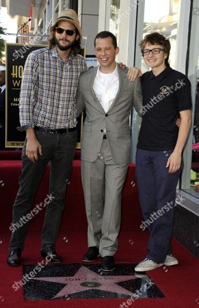Us Actor Jon Cryer (c) Along with Co-stars of the Television Series ' Two and a Half Men' Us Actor Ashton Kutcher (l) and Angus T Jones (r) Pose Following Cryer's Star Ceremony on the Hollywood Walk of Fame in Hollywood California Usa 19 September 2011 Cryer Received the 2 449th Star on the Hollywood Walk of Fame United States Hollywood
