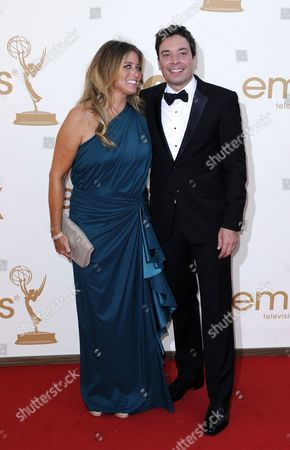 Us Comedian Jimmy Fallon (r) and Us Producer Nancy Juvonen (l) Arrive For the 63rd Annual Primetime Emmys Awards Held at the Nokia Theatre in Los Angeles California Usa 18 September 2011 the Primetime Emmy Awards Honor Excellence in Us Primetime Television Programming United States Los Angeles