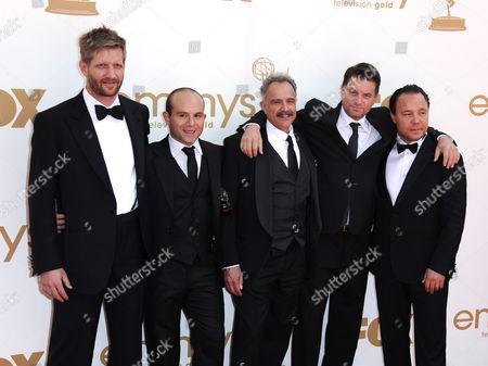 Cast Members of the Emmy Nominated Series Boardwalk Empire Paul Sparks (l-r) Anatol Yusef Anthony Laciura Shea Whigham and Stephen Graham Arrive For the 63rd Annual Primetime Emmys Awards Held at the Nokia Theatre in Los Angeles California Usa 18 September 2011 the Primetime Emmy Awards Honor Excellence in Us Primetime Television Programming United States Los Angeles