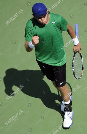 Louk Sorensen of Ireland Reacts As He Plays Rogerio Dutra Da Silva of Brazil who Replaced Robin Soderling of Sweden who Withrew Due to Sickness During Their First Round Match on the Third Day of the 2011 Us Open Tennis Championship at the Usta National Tennis Center in Flushing Meadows New York Usa 31 August 2011 the Us Open Runs Through 11 September 2011 Epa/john G Mabanglo United States Flushing Meadows