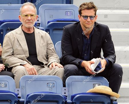 Us Actors Ron Rifkin (l) and Bradley Cooper Sit in the Stands Shortly Before the Start of the Seminfinal Match Between Novak Djokovic of Serbia and Roger Federer of Switzerland on the Thirteenth Day of the 2011 Us Open Tennis Championship at the Usta National Tennis Center in Flushing Meadows New York Usa 10 September 2011 the Us Open Has Been Extended Due to Weather For the Fourth Year in a Row and the Men's Final Will Now Be Played on 12 September 2011 United States Flushing Meadows