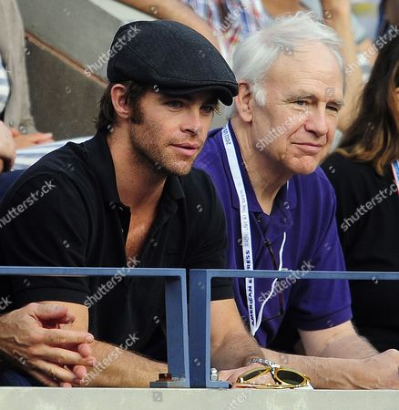Us Actors and Father and Son Chris Pine (l) and Robert Pine (r) Watch As Rafael Nadal of Spain Plays Novak Djokovic of Serbia During the Men's Final Match on the Fifteenth Day of the 2011 Us Open Tennis Championship at the Usta National Tennis Center in Flushing Meadows New York Usa 12 September 2011 the Men's Final is Being Played on a Monday For the Fourth Straight Year Due to Weather Delays United States Flushing Meadows