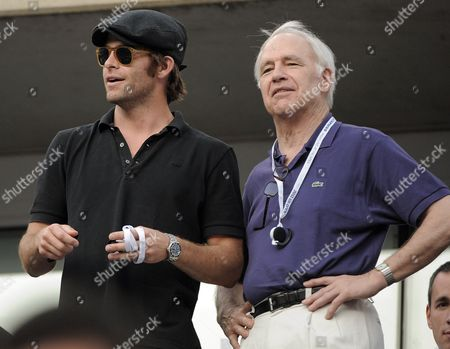 Us Actors and Father and Son Chris Pine (l) and Robert Pine (r) During a Changeover As Rafael Nadal of Spain Plays Novak Djokovic of Serbia During the Men's Final Match on the Fifteenth Day of the 2011 Us Open Tennis Championship at the Usta National Tennis Center in Flushing Meadows New York Usa 12 September 2011 the Men's Final is Being Played on a Monday For the Fourth Straight Year Due to Weather Delays United States Flushing Meadows