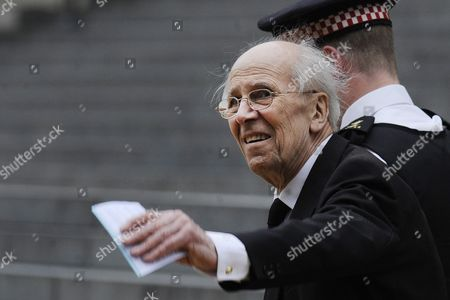 Former Cabinet Minister of Margaret Thatcher Lord Norman Tebbit Arrives For the Funeral Service of Former British Prime Minister Margaret Thatcher in London Britain 17 April 2013 Baroness Thatcher Died After Suffering a Stroke at the Age of 87 on 08 April 2013 United Kingdom London
