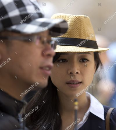 Chinese Actress Zhang Jingchu and Director Lu Chuan (l) Pose For Photographs During the Filming of 'Old Cinderella' in Jerusalem's Old City 18 April 2013 Israel Jerusalem