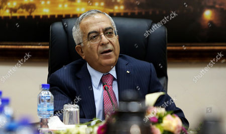 Palestinian Prime Minister Salam Fayyad Heading His Weekly Cabinet Meeting at His Office in Ramallah the West Bank 16 April 2013 Fayyad Submitted His Resignation to President Mahmoud Abbas on 13 April His Resignation was Submitted After a Spat with President Mahmoud Abbas Over the Resignation of the Finance Minister Fayyad Handed in His Resignation to Abbas who Accepted It and Asked Fayyad to Continue As Head of a Caretaker Government Until a New Administration is Formed - Ramallah