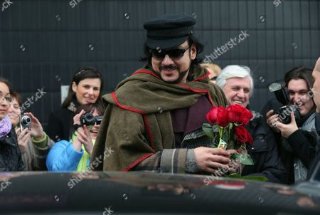 Russian Singer and Producer Philipp Kirkorov (c) Arrives in St Petersburg Russia 12 April 2013 Kirkorov is Expected to Give Two Concerts at Oktyabrsky Concert Hall in St Petersburgon on 12 and 13 April 2013 Russian Federation St.petersburg