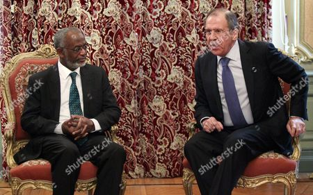 Stock Image of Russian Foreign Minister Sergei Lavrov (r) Talks to His Sudanese Counterpart Ali Karti (l) During Talks at the Foreign Ministry in Moscow Russia 16 April 2013 the Ministers Discussed the Internal Sudanese Conflict Settlement Russian Federation Moscow