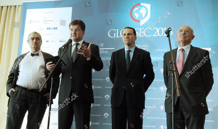 From L-r Ministers of Foreign Affairs of Czech Republic Karel Schwarzenberg Slovakia Miroslav Lajcak Poland Radoslaw Sikorski and Hungary Janos Martonyi Pose For Photographers During Their Press Conference During the 2013 Globsec Security Forum 18 April 2013 in Bratislava Slovakia Globsec is One of Five Most Relevant Forums on Foreign Policy and Security Issues in Central Europe and Worldwide Driving the Attention of Dedicated Public Towards Slovakia Slovakia (slovak Republic) Bratislava