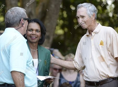 Former Us Secretary of State and Augusta National Member Condoleezza Rice (c) Talks with Fuzzy Zoeller (l) and Hubert Green (r) of the Us During the Par 3 Contest After the Final Practice Round of the 2013 Masters Tournament at the Augusta National Golf Club in Augusta Georgia Usa 10 April 2013 the Masters Tournament Will Be Held 11 April Through 14 April 2013 United States Augusta