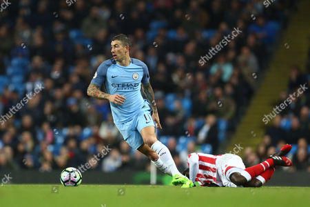 Aleksander Kolarov of Manchester City during the Premier League match between Manchester City and Stoke City played at Etihad Stadium, Manchester on 8th March 2017