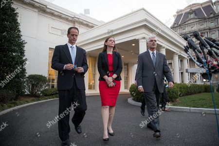 Tim Phillips, Jenny Beth Martin, David McIntosh From left, Americans for Prosperity President Tim Phillips, Tea Party Patriots President Jenny Beth Martin, and Club for Growth president David McIntosh walk out of the West Wing of the White House to give a statement, in Washington. President Donald Trump met with conservative leaders about healthcare