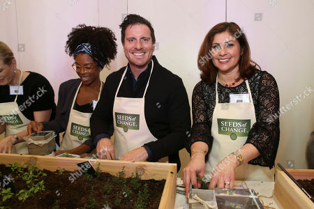 Seamus Mullen, Adriana Montano Chef Seamus Mullen and Seeds of Change Senior Marketing Manager Adriana Montano demonstrate the journey from seed to plate through a planting activity at the 2017 Seeds of Change Grant Program kick off event on in New York