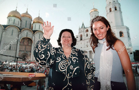 Famous Singer Montserrat Caballier (l) and Her Daughter Montserrat Marti (r) Pose For a Phothograph Before the Night Rehearsal on Sobornaya Square in Kremlin Moscow Russia 30 July 1998 Monserrat Caballe Will Give the Charity Concert Here Friday Night in a Benefit of Russian Children-invalids Russian Federation Moscow