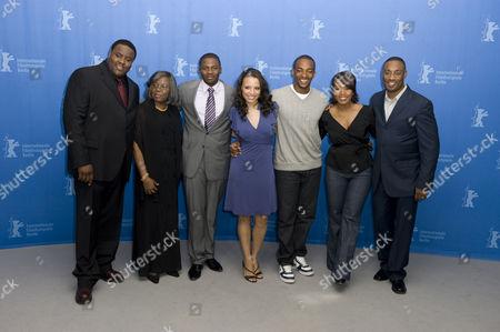(L-R) Actor Jamal Woolard, producer Voletta Wallace, Derek Luke, Antonique Smith, Anthony Mackie, Angela Bassett and director George Tillman Jnr