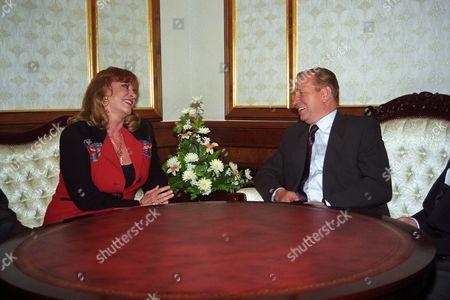 Ukrainian President Leonid Kuchma (r) Welcomes French Actress Michele Mercier in Kiev Ukraine 18 September 1996 Ukraine Kiev