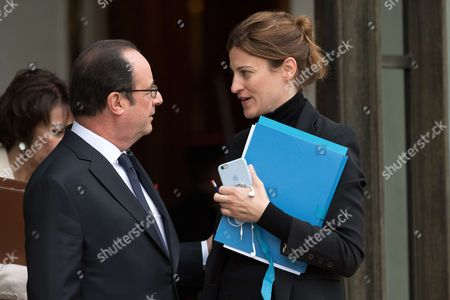 French President Francois Hollande and State Secretary in charge of Victims Juliette Meadel