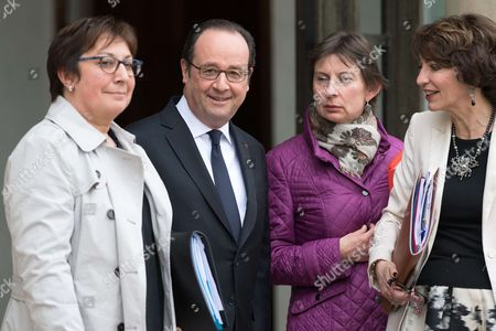 French President Francois Hollande, Health minister Marisol Touraine, French junior minister for Trade, Handicraft and French Junior Minister for Vocational Training Clotilde Valter