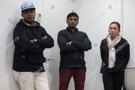 Sri Lankan asylum seekers Kellapatha Supun Thilina, (L), and Debagma Kankanalamage Ajith Pushpa Kumaralistens, (C), and Vanessa Mae Bondalian Rodel, (R), listen during a press conference in Hong Kong, China, 09 March 2017. Their lawyers announced that Canada has been officially petitioned to accept into Canada the asylum seeking families who sheltered former US intelligence whistle-blower Edward Snowden in Hong Kong in 2013. The role of the refugees who sheltered Snowden for about two weeks was only reported in September 2016. Claims emerged recently that Sri Lankan police had been in the city looking for some of them.