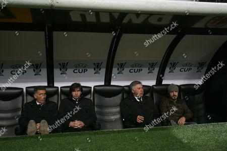 (l to R) Assistant Coaches Mauro Tassotti and Filippo Galli Sits Next to Coach Carlo Ancelotti and Player Gennaro Gattuso Italy Milan