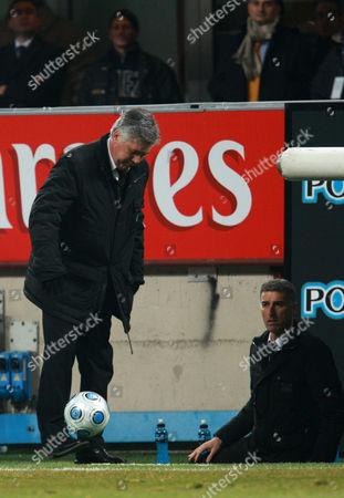 Ac Milan Coach Carlo Ancelotti Controls the Ball Next to Assistant Coach Mauro Tassotti Italy Milan