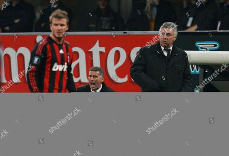 Ac Milan Coach Carlo Ancelotti and Mauro Tassotti Watch David Beckham Italy Milan