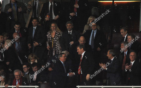 Stock Photo of Arsenal Chairman Peter Hill Wood Shakes Hands with Manchester United Chief Executive David Gill at Full Time United Kingdom London