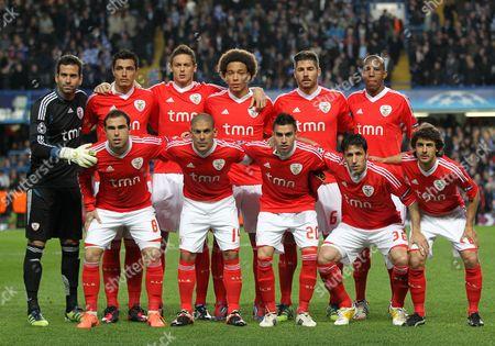 The Benfica Starting Lineup L-r Artur Oscar Cardoza Nemanja Matic Axel Witsel Javi Garcia Emerson Bruno Cesar Maxi Pereira Nicolas Gaitan Joan Capdevila and Pablo Aimar United Kingdom London